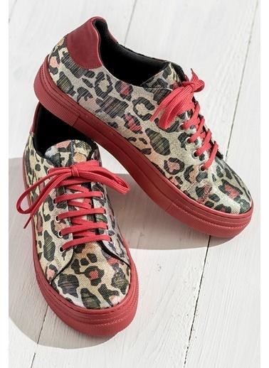 Leopar Desenli Sneaker Ayakkabı-Elle